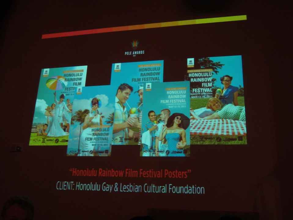April 2012 - we won two Pele Awards for the images we shot for the Rainbow Film Festival